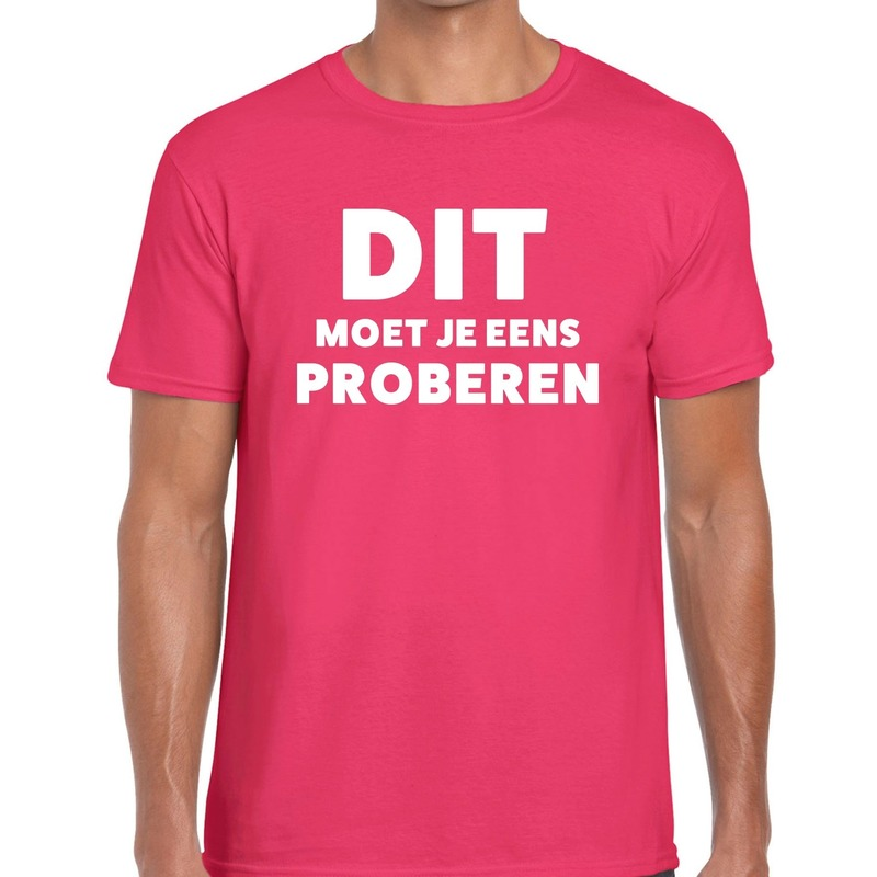 Dit moet je eens proberen beurs-evenementen t-shirt roze heren