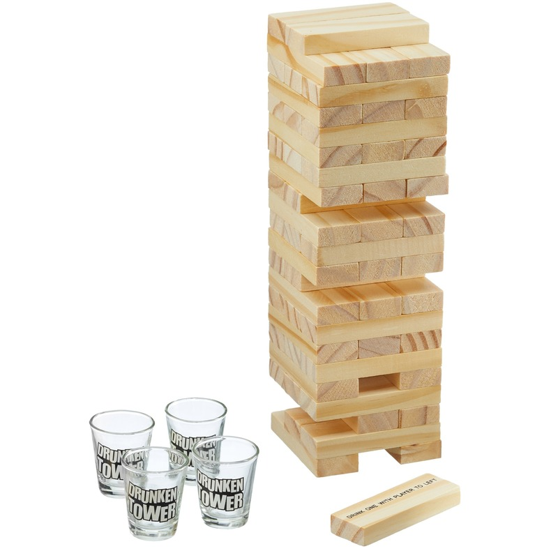 Drankspel bouwsteen toren shotspel met 4 shotglaasjes