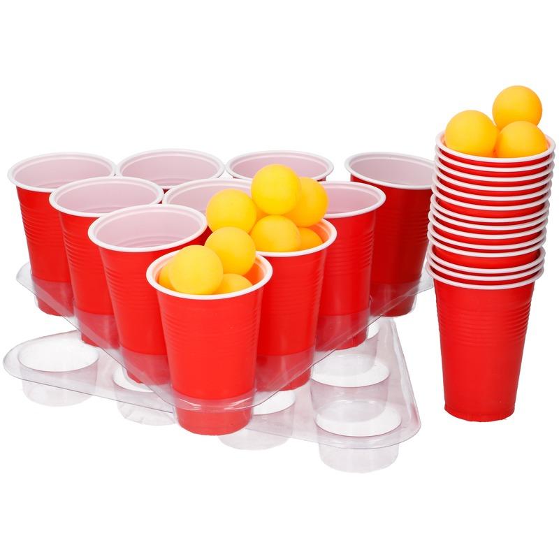 Drankspel-drinkspel grote beer pong set met rode cups 50 delig