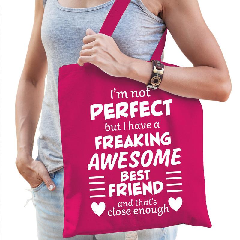 Freaking awesome best friend -beste vriend cadeau tas roze dames