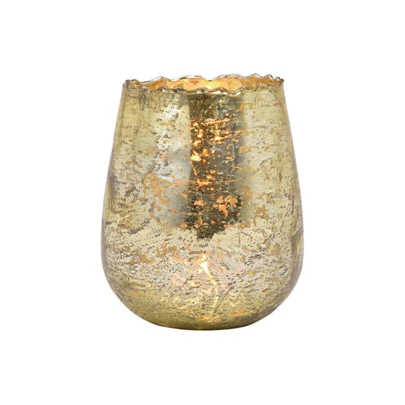 Glazen design windlicht-kaarsenhouder champagne goud 12 x 15 x 12 cm
