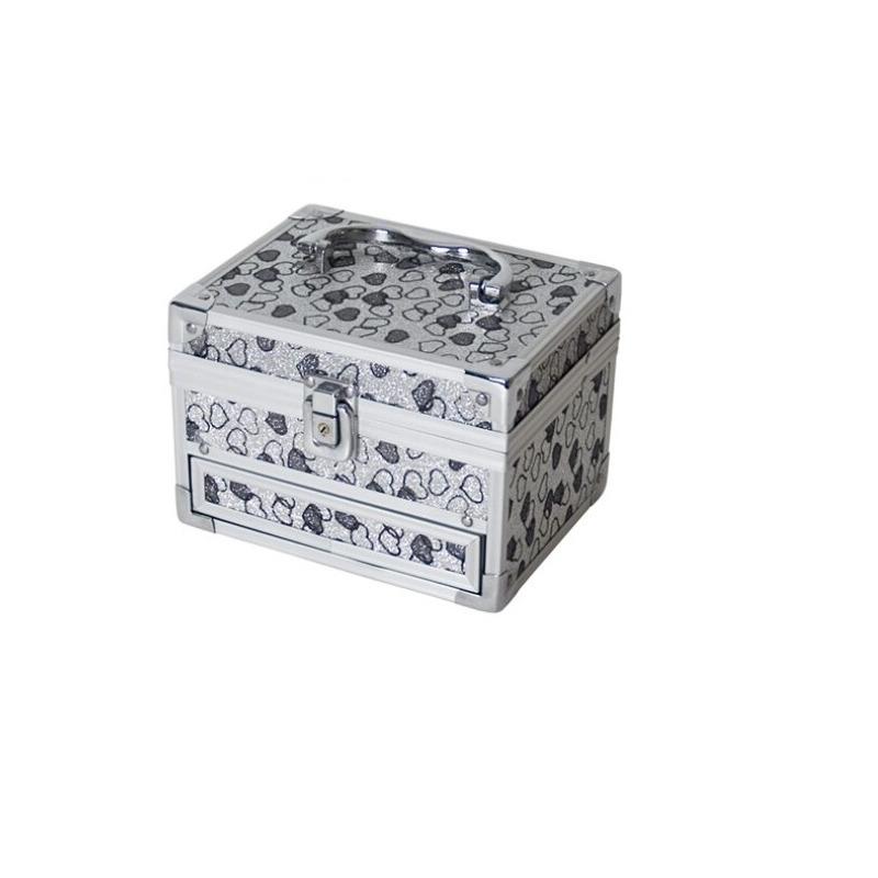 Grijze luxe make up-sieraden opbergkist met hartjes 18 x 14 x 18 cm