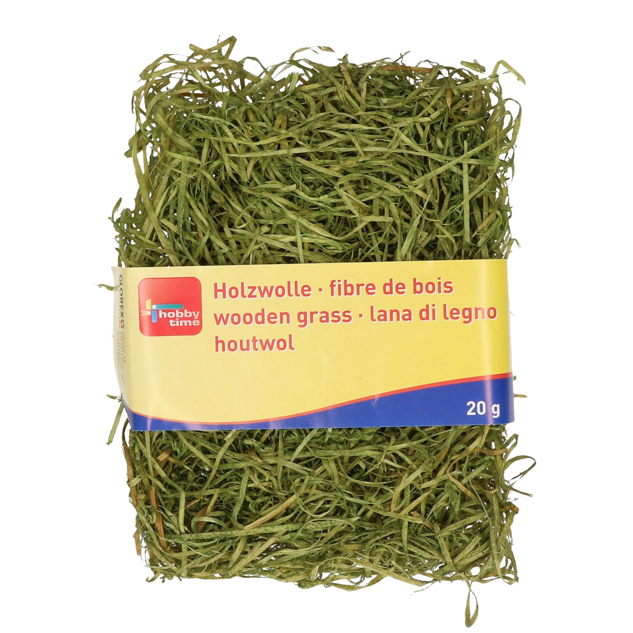 Groen kleur houtwol 20 gram vulmateriaal-vulling