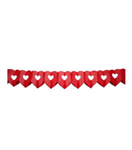 Hartjes thema feest slinger van 6 meter rood