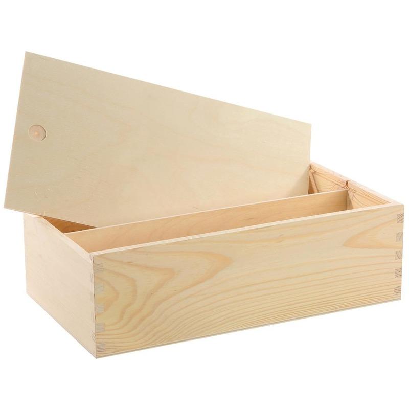 Houten opbergkist-doosje met schuifdeksel 35,5 x 20 x 10,8 cm
