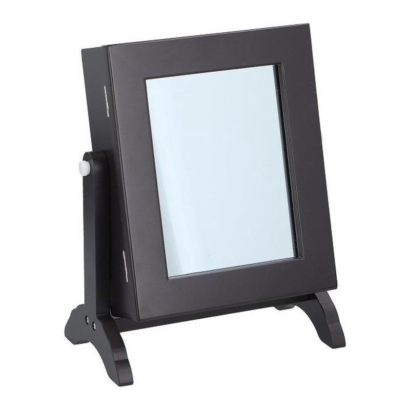 Houten sieraden opbergkastje-organizer met spiegel 21 x 12 x 25 cm