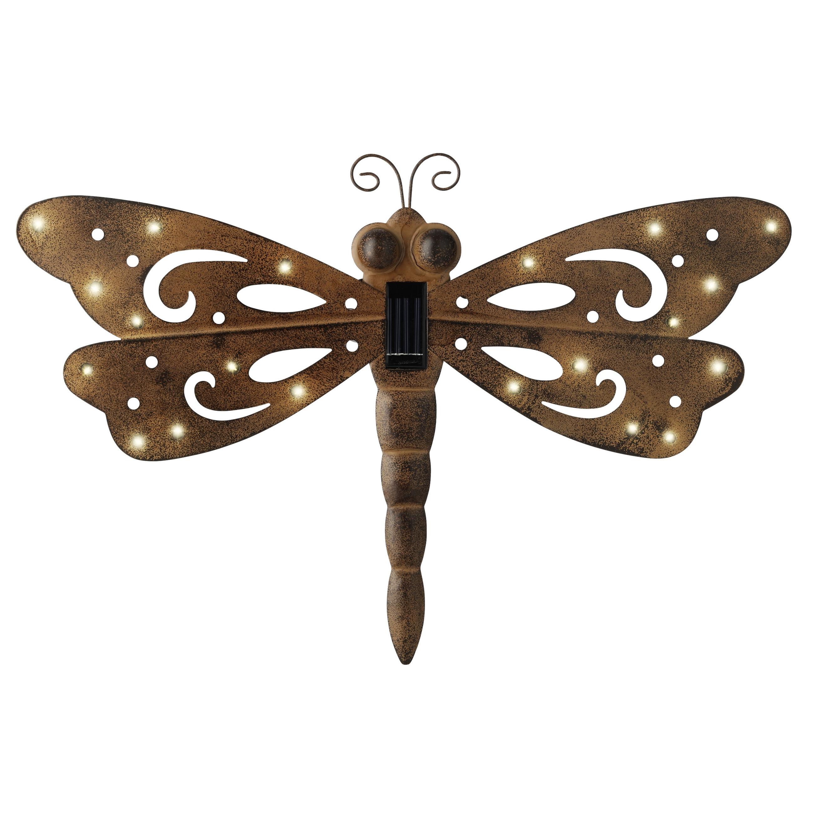 IJzeren decoratie libelle met solar verlichting 53 x 35 cm