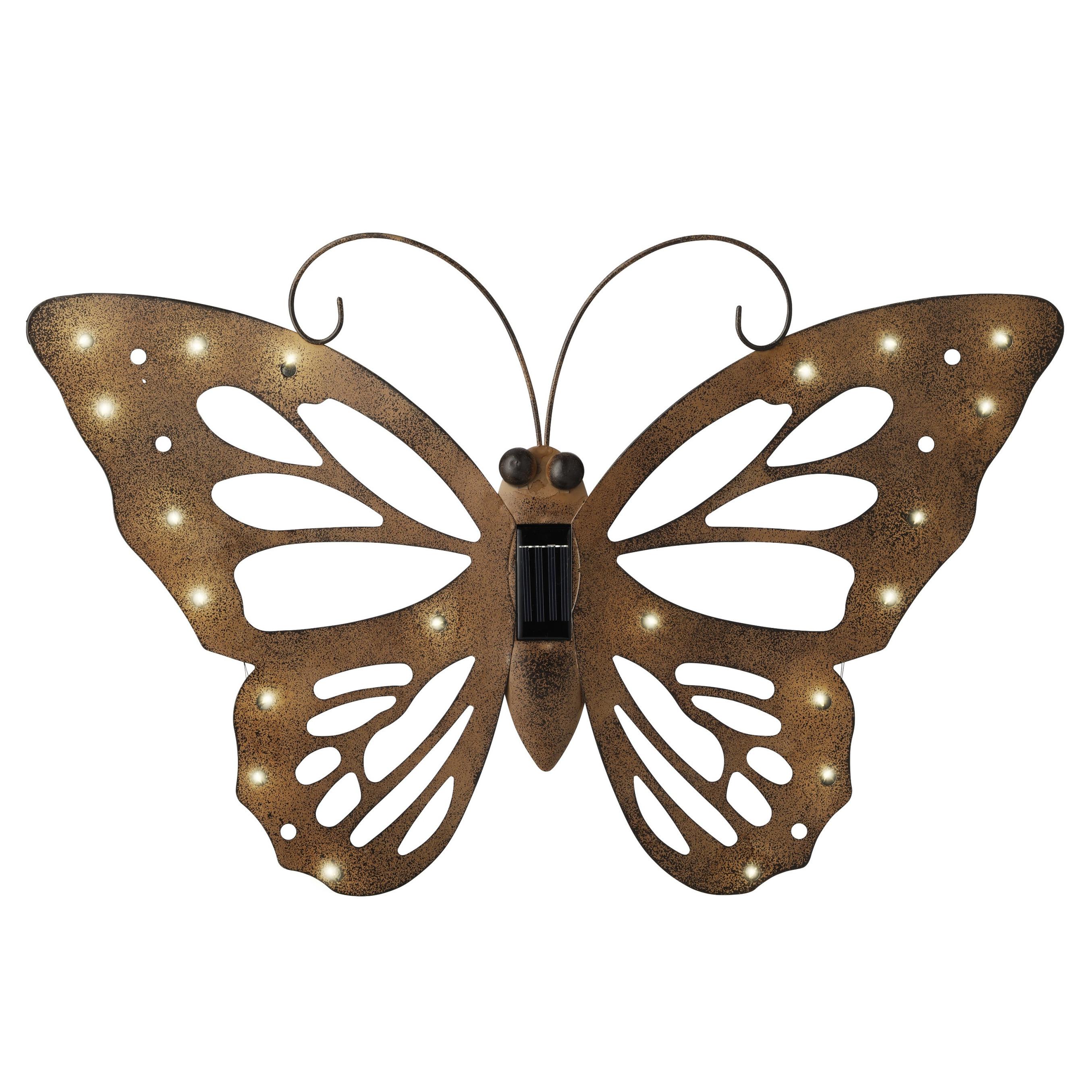 IJzeren decoratie vlinder met solar verlichting 53 x 35 cm