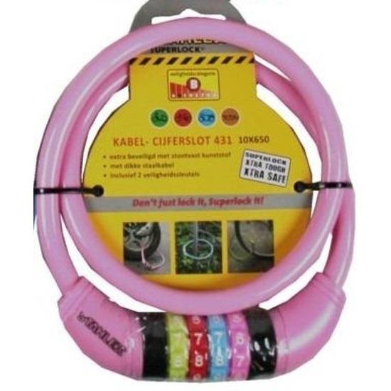 Kabelslot met cijferslot roze 10 x 650 mm