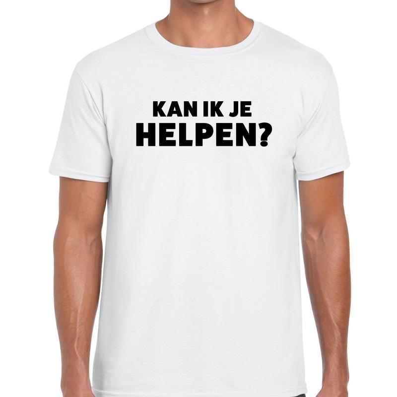 Kan ik je helpen beurs-evenementen t-shirt wit heren