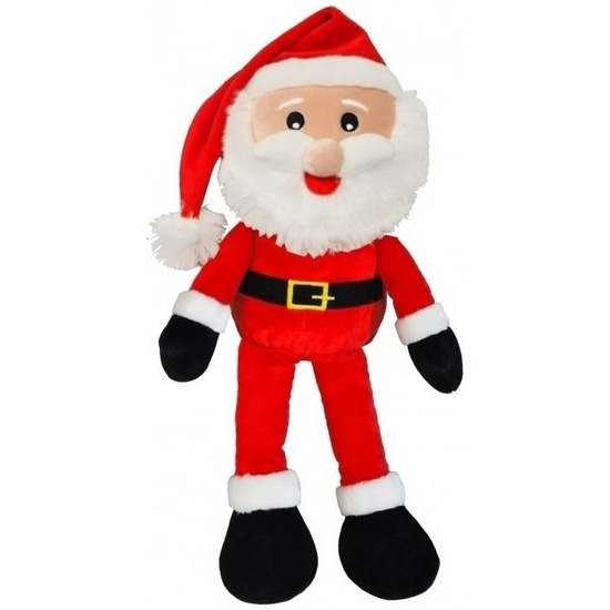 Kerst decoratie Kerstmannen pop van pluche 41 cm