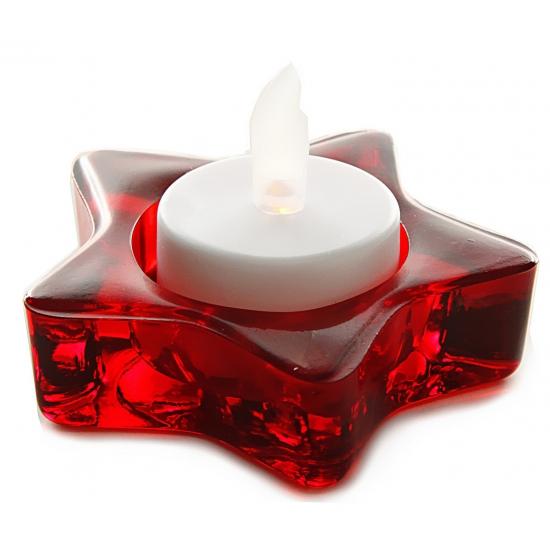 Kerst theelichthouder-waxinelichthouder rode ster 8 cm