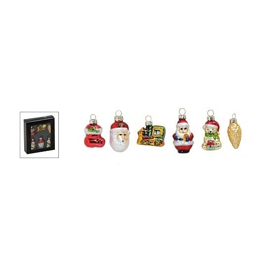 Kerstballen figuren van glas 6 stuks type 1