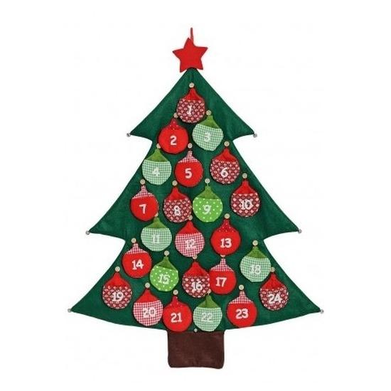 Kerstboom adventskalender vilt kerstversiering 95 cm