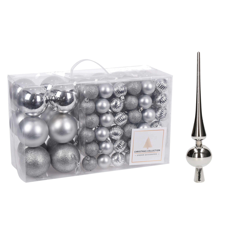 Kerstboomversiering pakket zilveren kunststof kerstballen en piek