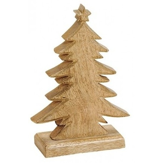 Kerstdecoratie houten kerstbomen-kerstboompjes 20 cm