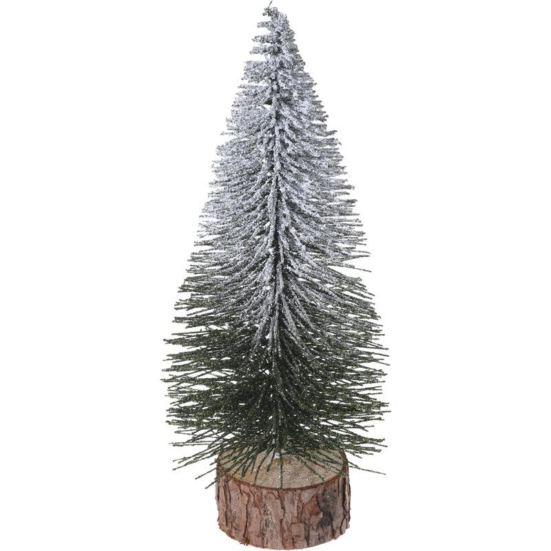 Kerstdecoratie kleine-mini kerstboompjes besneeuwd 25 cm