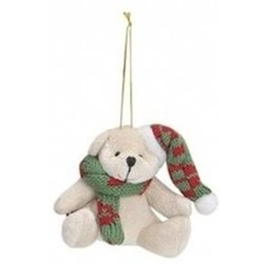 Kersthangers knuffelbeertjes wit met groene sjaal en muts 7 cm