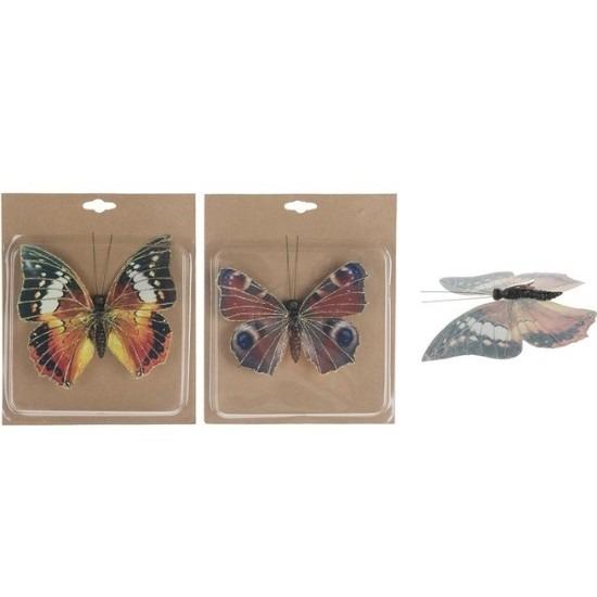 Kerststukjes onderdelen vlinders op clip 2 stuks 17 cm
