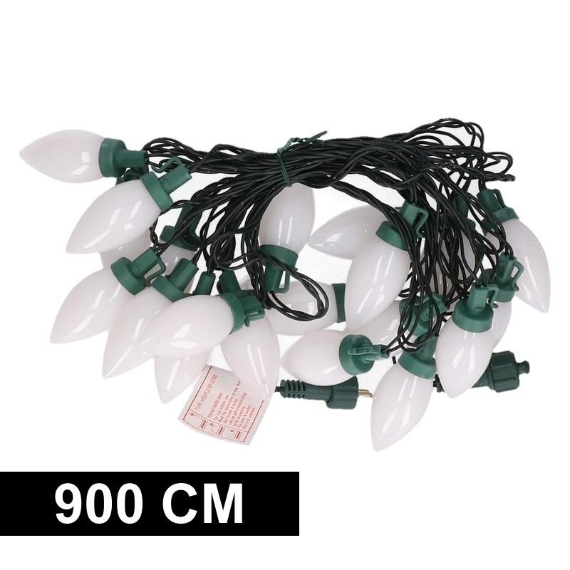 Kerstverlichting kaarsjes warm wit buiten 900 cm lichtsnoer