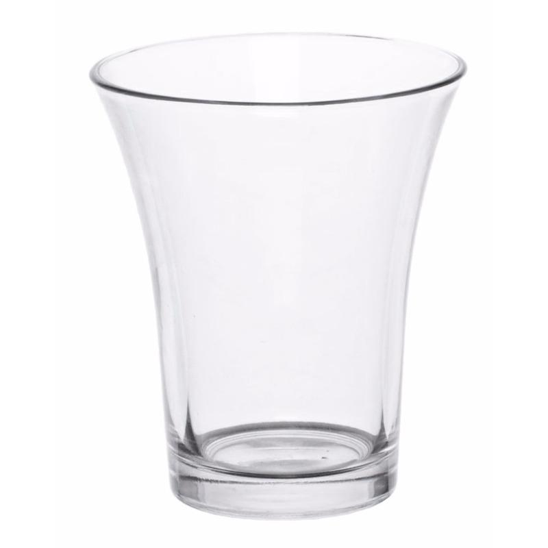 Laag vaasje helder glas 12 cm