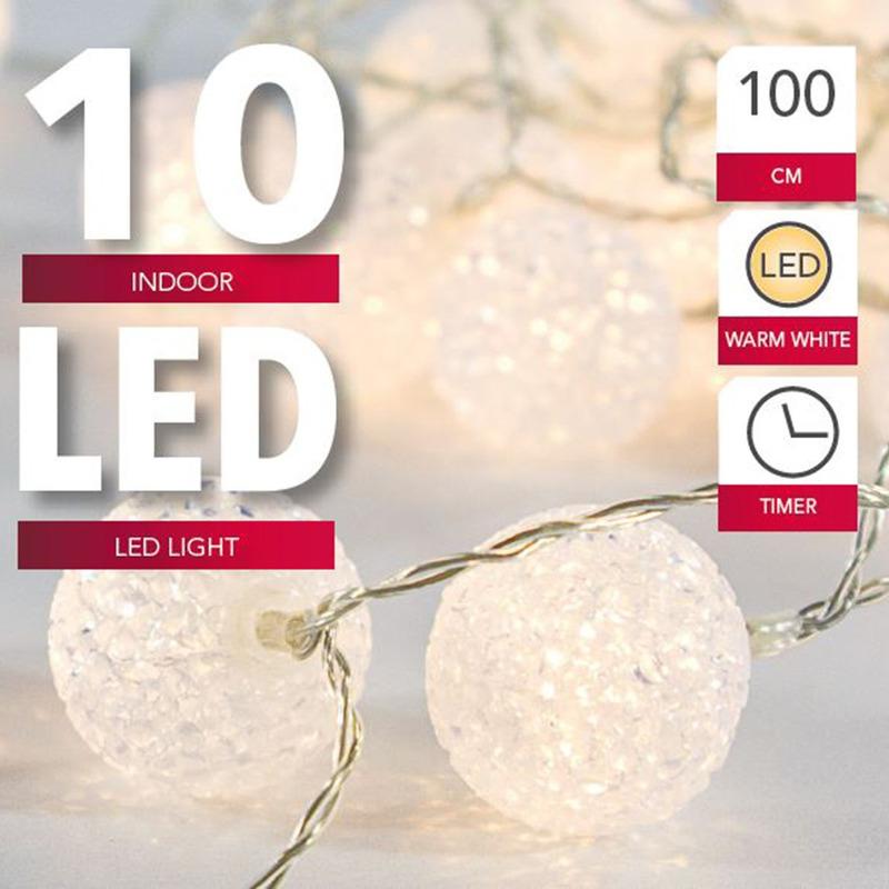 Lichtsnoer met 10 witte bolletjes warm wit op batterij met timer 135 cm