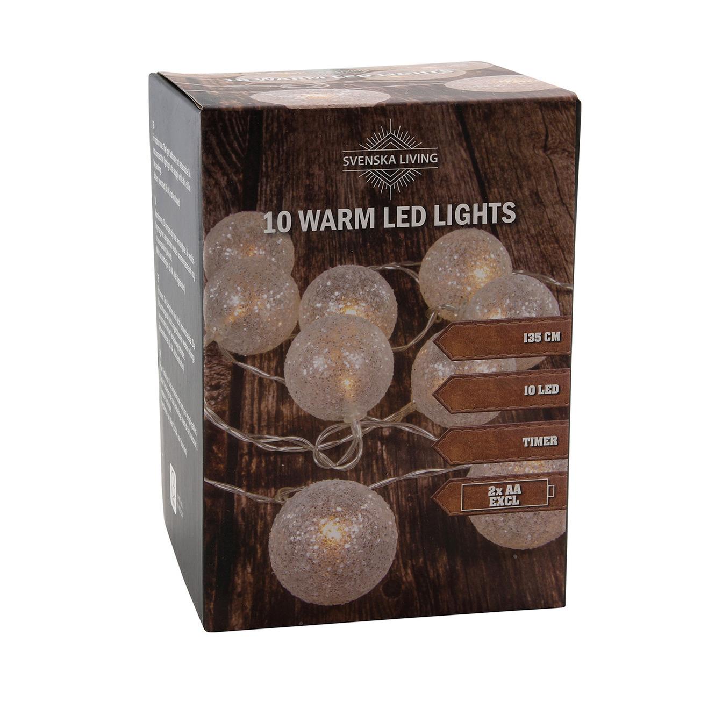 Lichtsnoer met 10 witte glitter bolletjes warm wit op batterij 135 cm