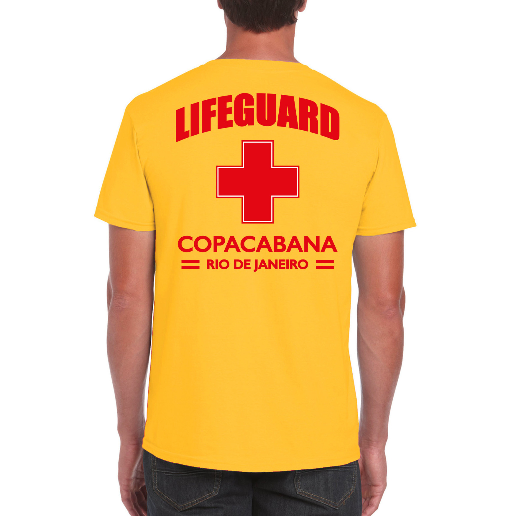 Lifeguard- strandwacht verkleed t-shirt-shirt Lifeguard Copacabana Rio De Janeiro geel voor heren