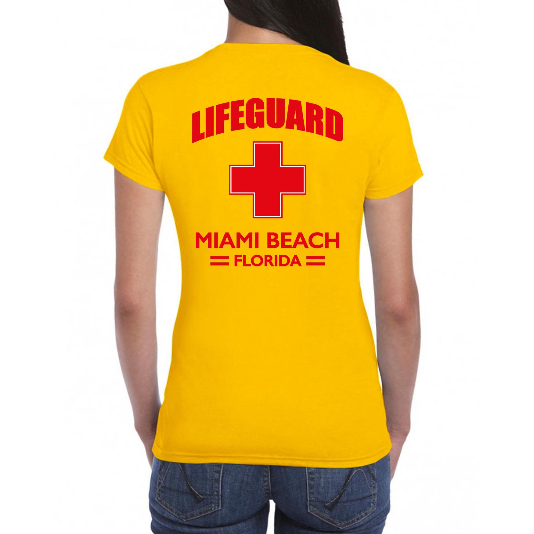 Lifeguard- strandwacht verkleed t-shirt-shirt Lifeguard Miami Beach Florida geel voor dames