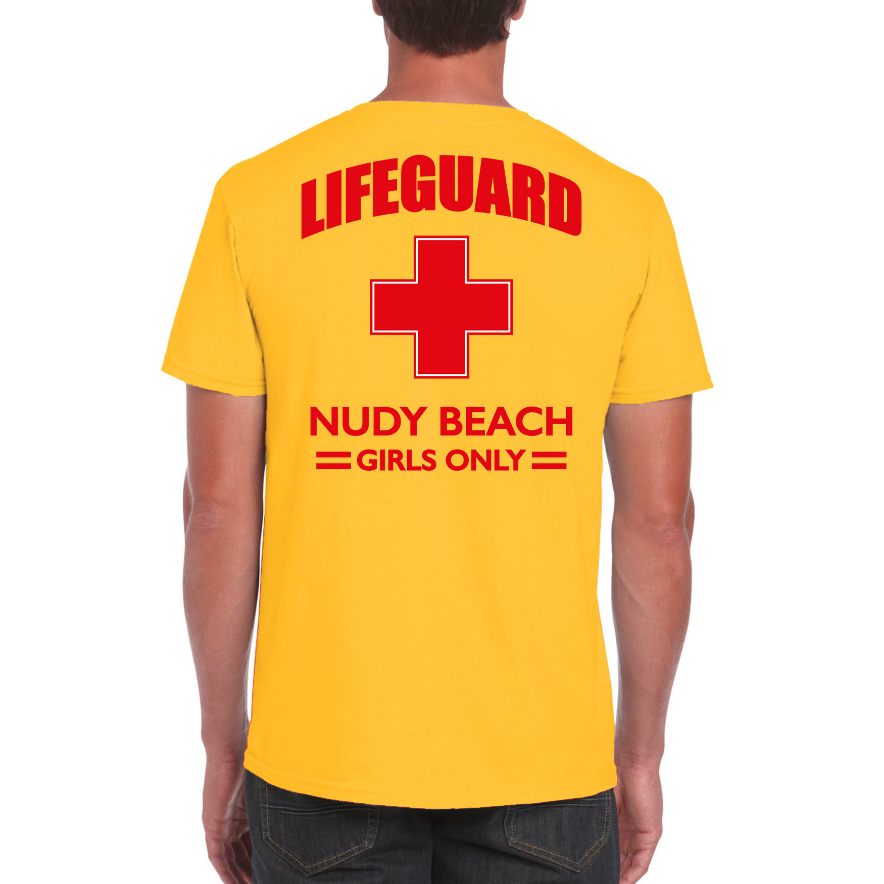 Lifeguard- strandwacht verkleed t-shirt-shirt Lifeguard Nudy Beach girls only geel voor heren