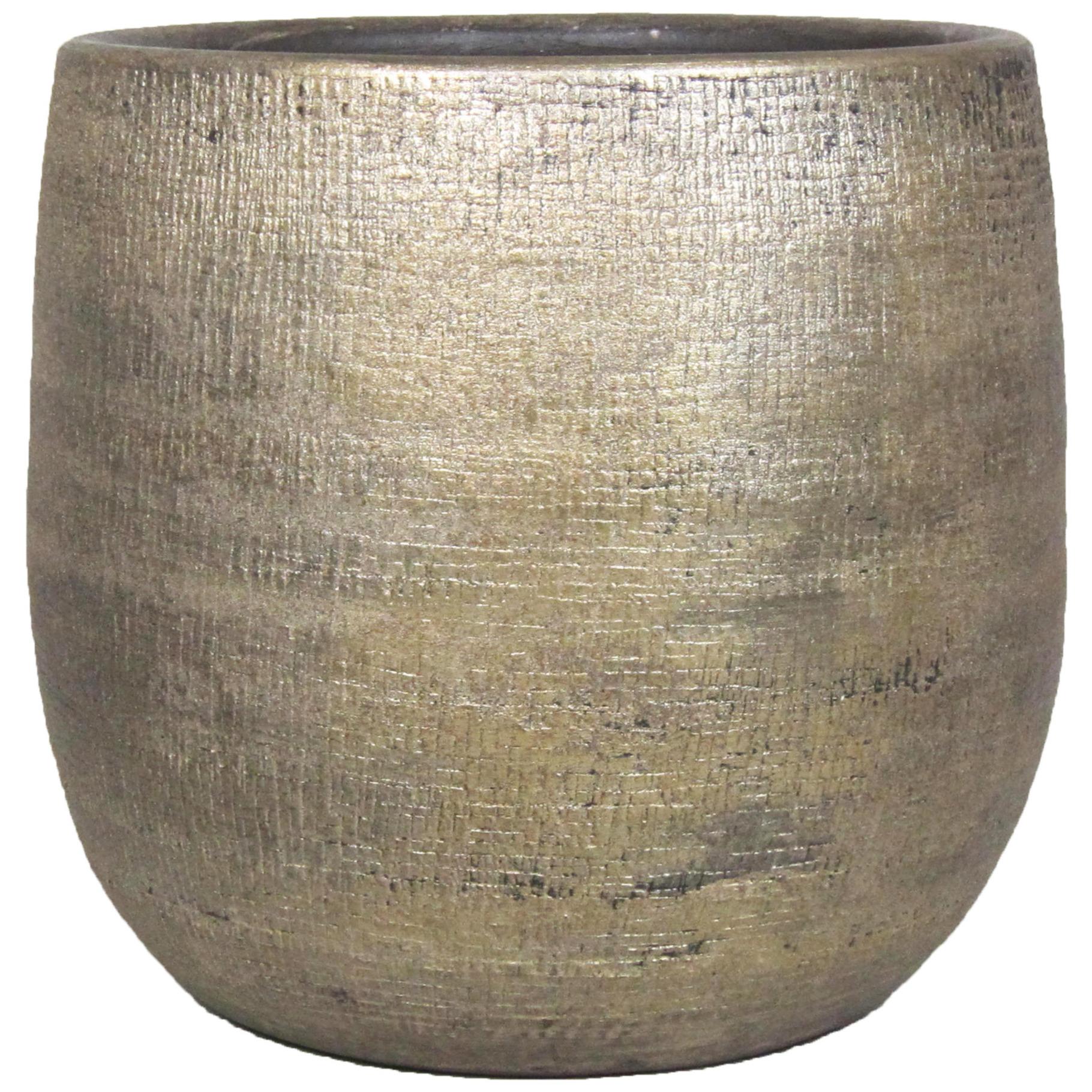 Luxe plantenpot-bloempot goud Mira van keramiek 18 cm