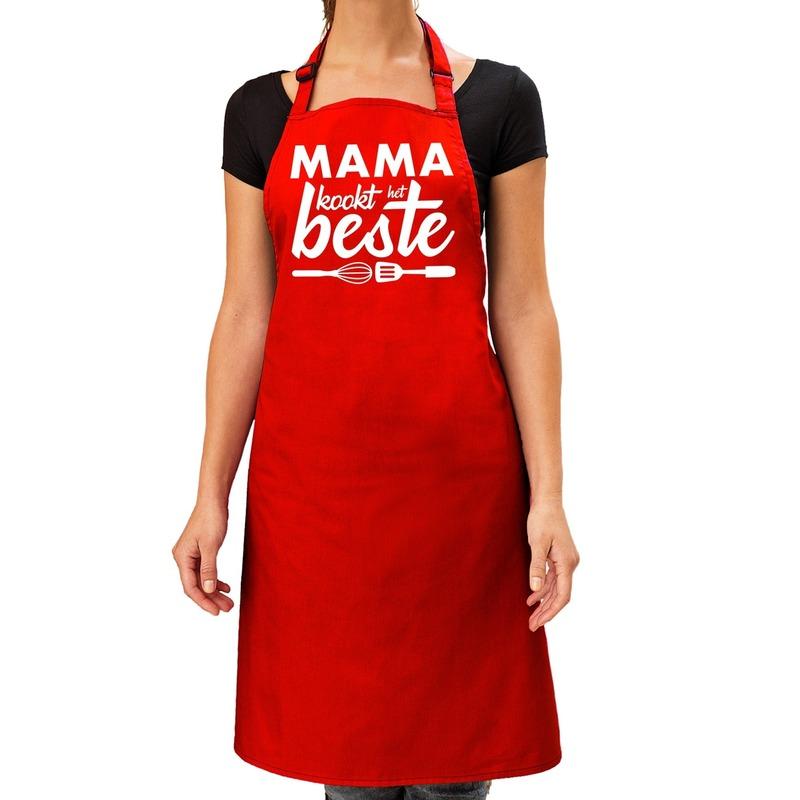 Mama kookt het beste keukenschort rood voor dames-Moederdag