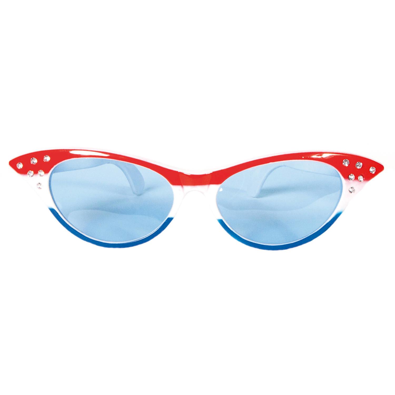 Mega vlinder bril rood-wit-blauw