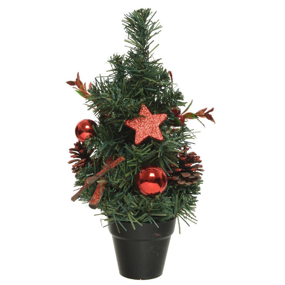 Mini kunst kerstbomen-kunstbomen met rode versiering 30 cm
