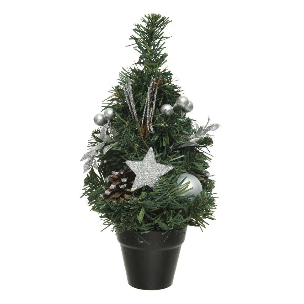 Mini kunst kerstbomen-kunstbomen met zilveren versiering 30 cm