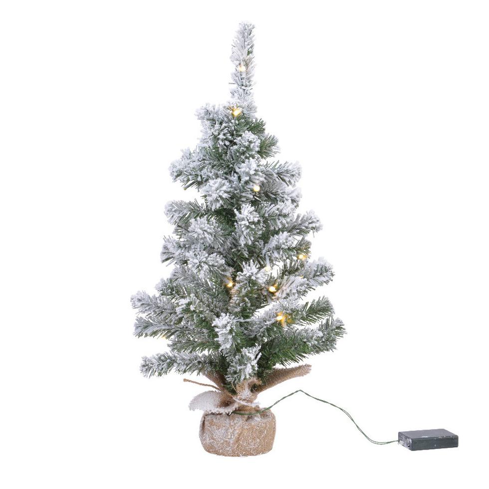 Mini kunstbomen-kunst kerstbomen met sneeuw en licht 45 cm