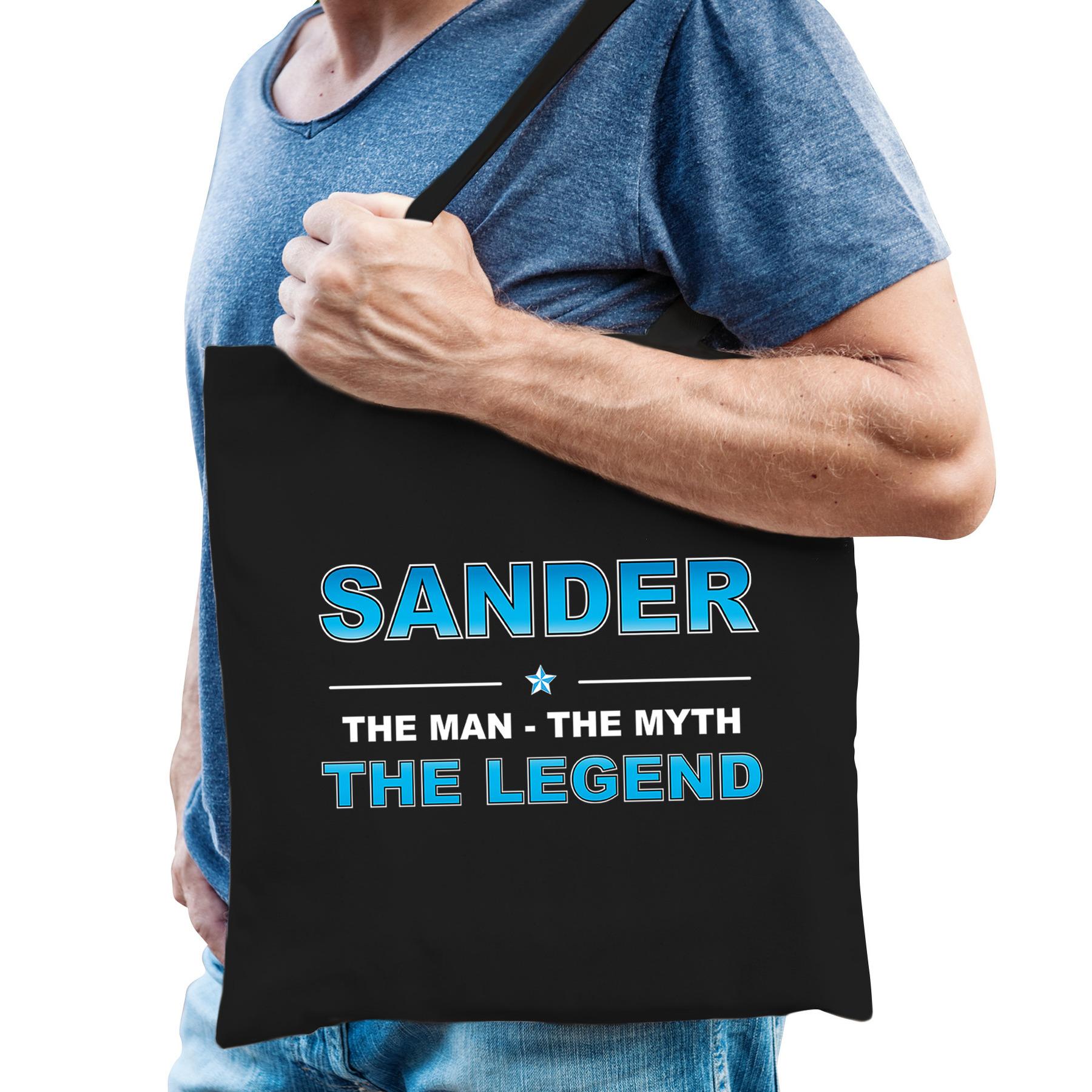 Naam cadeau tas Sander the legend zwart voor heren