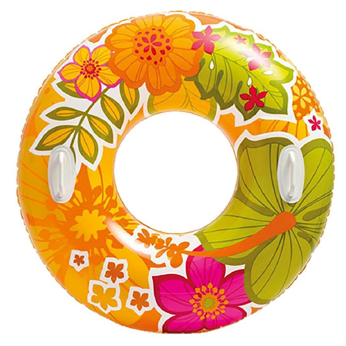 Opblaasbare oranje bloemen zwemband-zwemring 97 cm