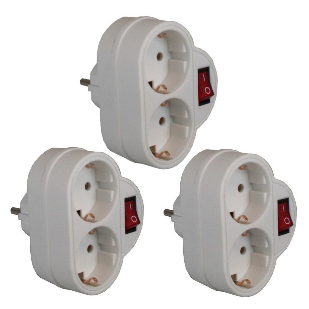 Pakket van 3x stuks stopcontact splitters dubbel met randaarde en schakelaar wit