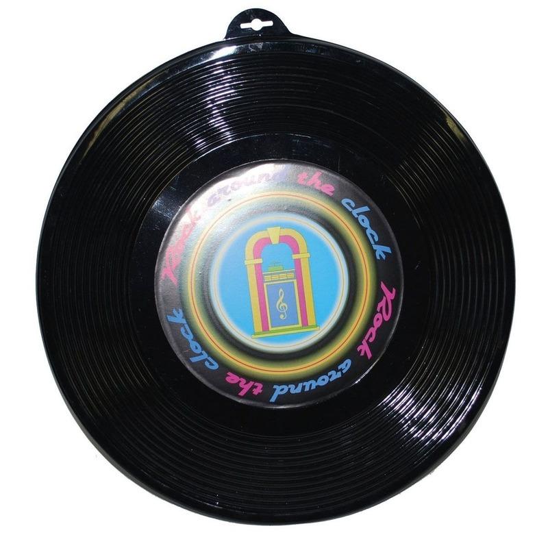 Plastic LP grammofoonplaat wanddecoratie 48 cm