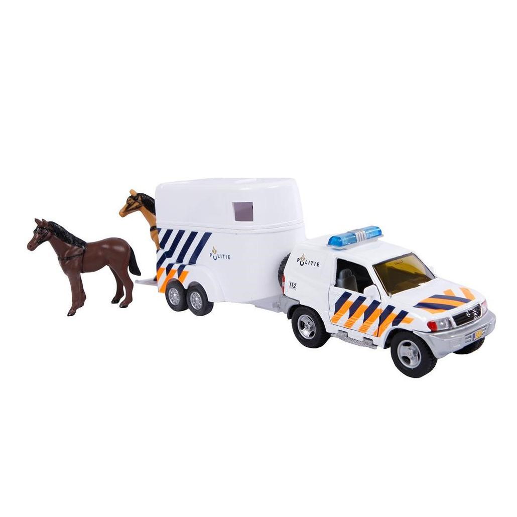 Politie auto met paardentrailer en 2 paarden speelgoed 28 cm