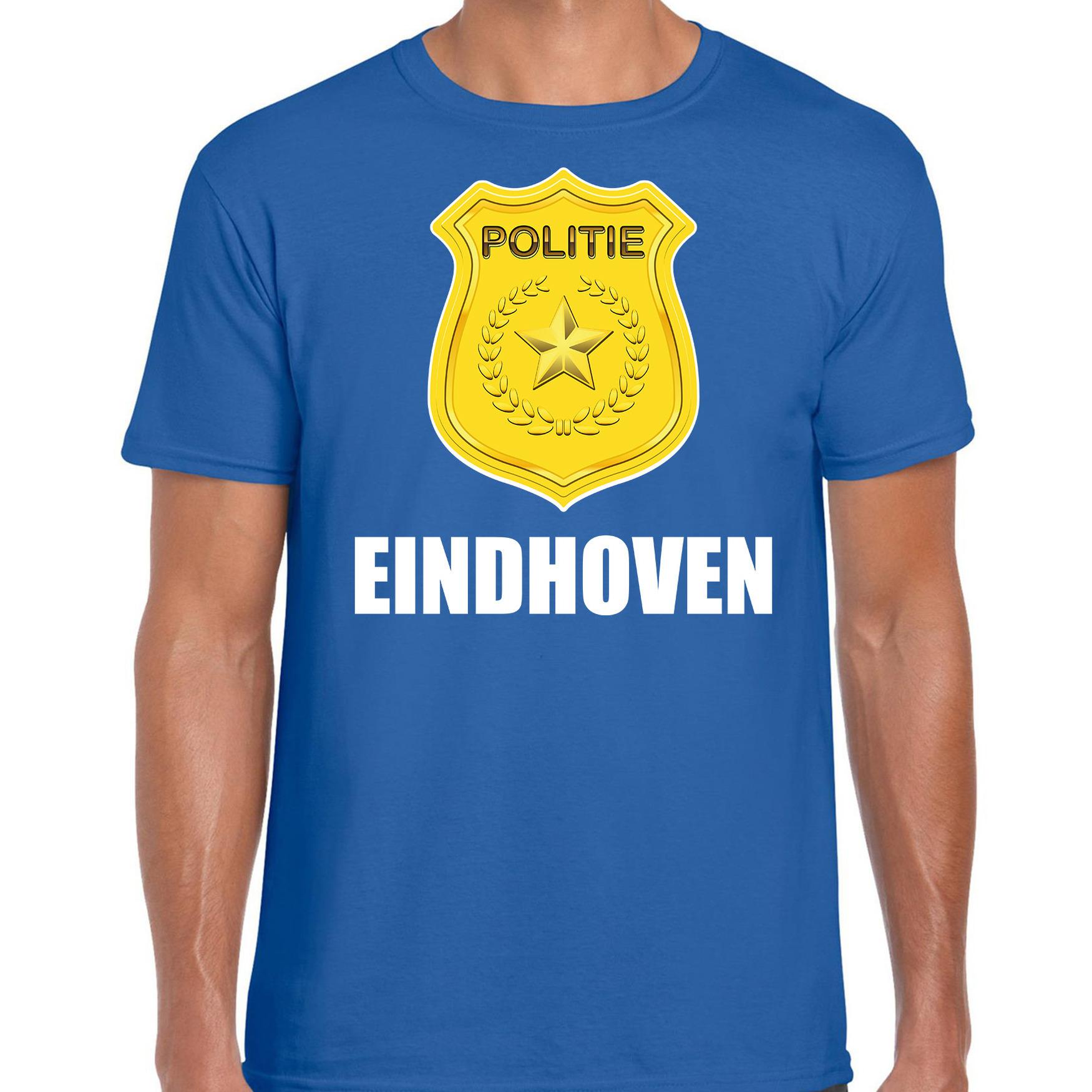 Politie embleem Eindhoven carnaval verkleed t-shirt blauw voor heren