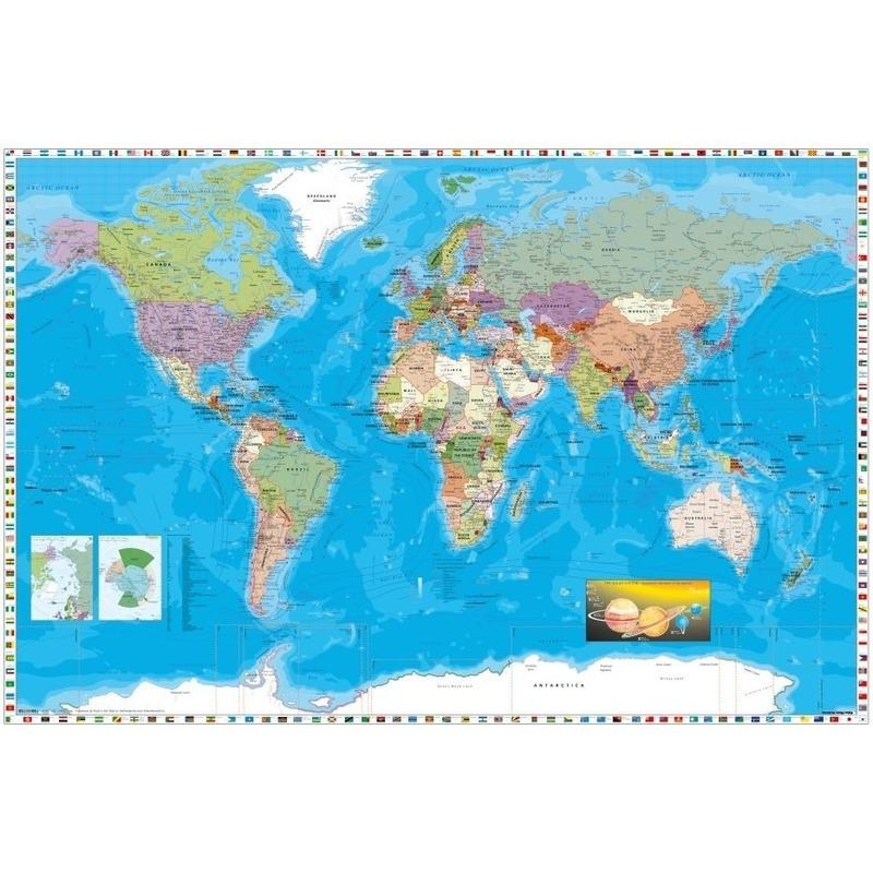 Poster wereldkaart 61 x 91 cm wanddecoratie
