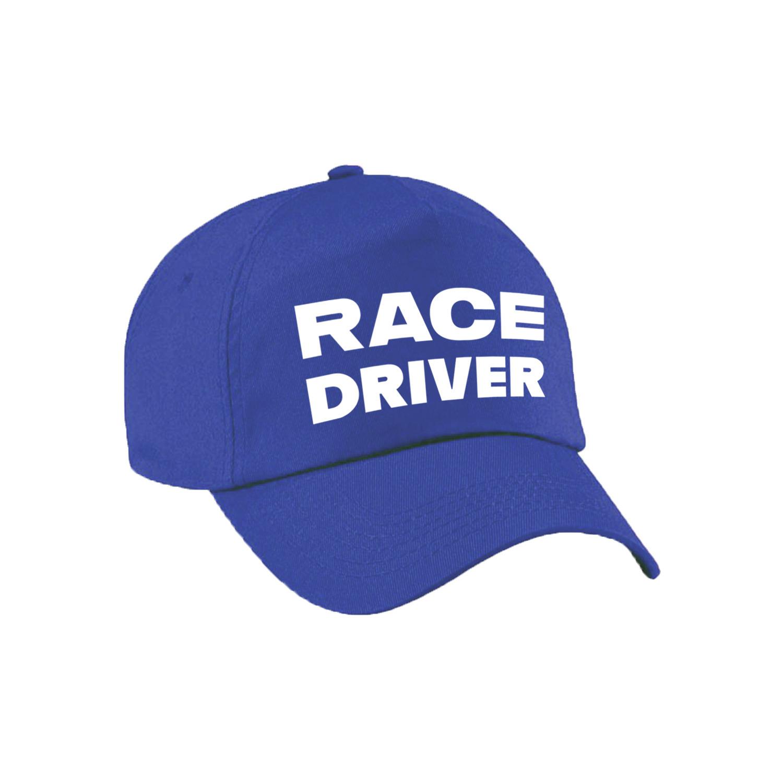 Race driver-auto coureur verkleed pet blauw voor kinderen