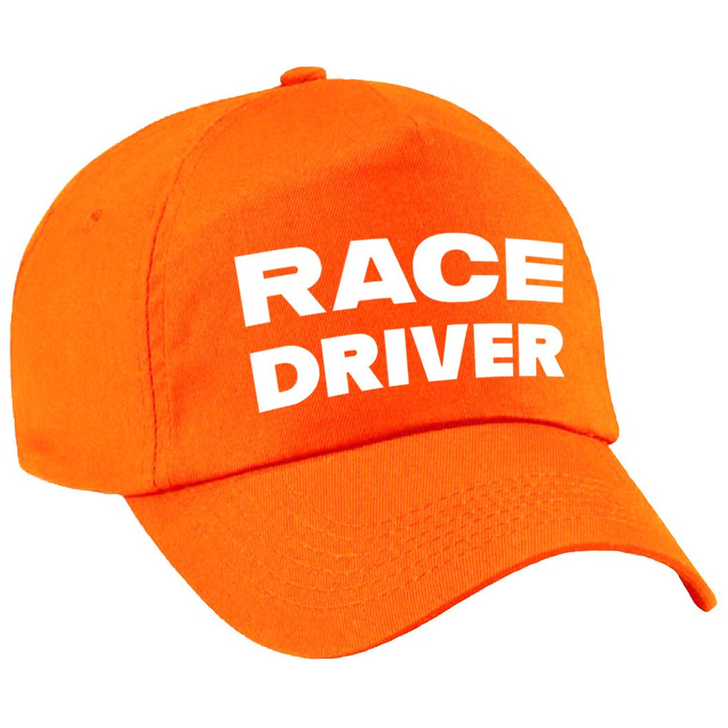 Race driver-auto coureur verkleed pet oranje voor kinderen