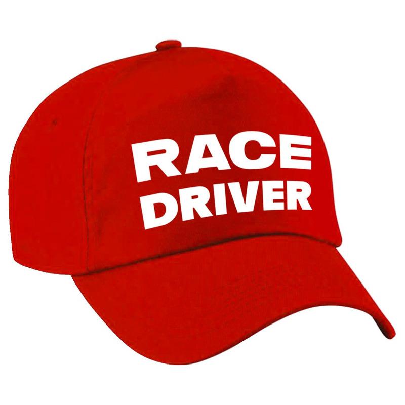 Race driver-auto coureur verkleed pet rood voor kinderen