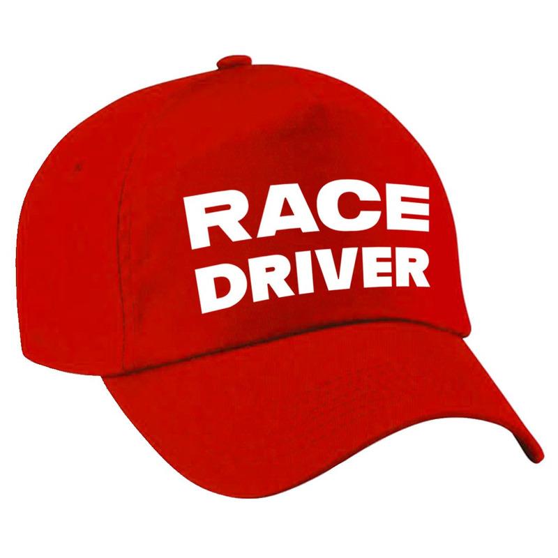Race driver-auto coureur verkleed pet rood voor volwassenen