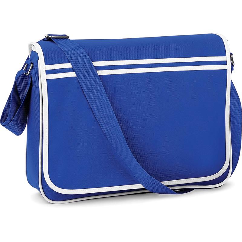 Retro schoudertas-aktetas blauw-wit 40 cm voor dames-heren