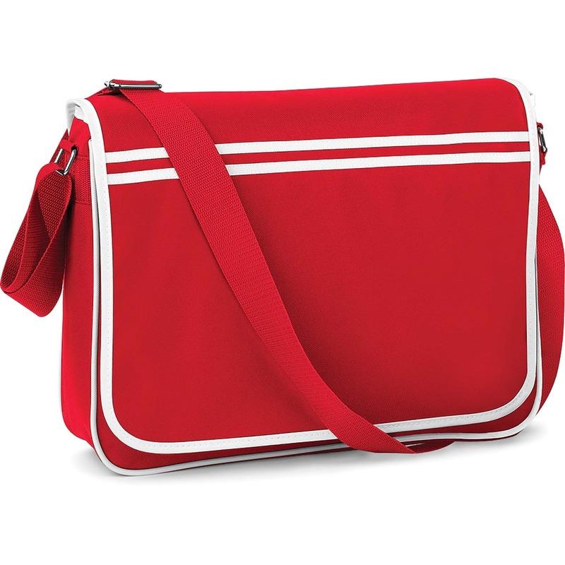 Retro schoudertas-aktetas rood-wit 40 cm voor dames-heren