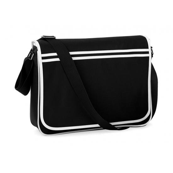 Retro schoudertas-aktetas zwart-wit 40 cm voor dames-heren
